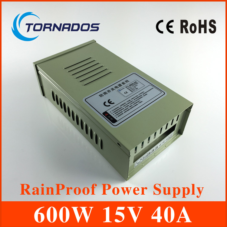 Transformer 15v 40a  600w external in42patients module with lights rainproof switching power supply led power supply FY-600-15