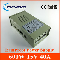 Transformer 15v 40a 600w external in42patients module with lights rainproof switching power supply led power supply FY 600 15
