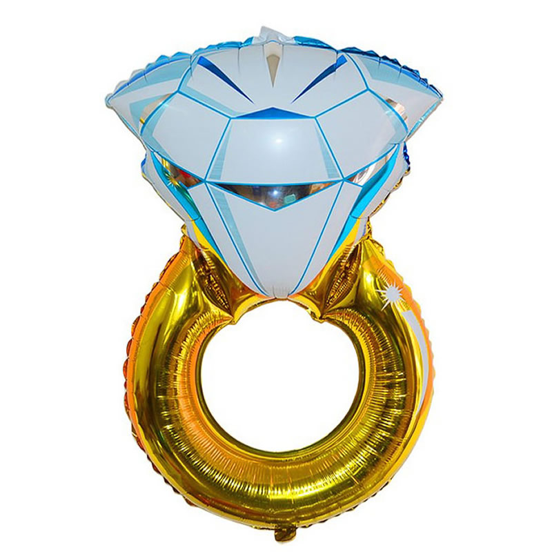 1PCS 80X50CM Gold Diamond Ring Balloons Creative Party Supplies Toys Valentine's Day Propose Inflatable Gift Wedding Romantic