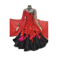 New Competition Slik organza ballroom Standard dance dress,juvenile clothing,Red stage dress