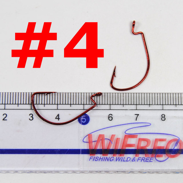 100pcs Small Size Red Worm Hooks High Carbon Steel Crank Fish Hook #2 #4 #6 #8 Wifreo Wholesale Pan Fish Lure Hooks