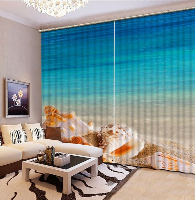 Custom 3d Curtains Living Room Sea Water Beach Scenery Luxury Bedroom Curtain Patternsfrench