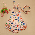 Preax Kids Newborn Baby Girl Cotton Summer Sleeveless Princess Overall 0-3T fox print Costumes bodysuit+hair belt
