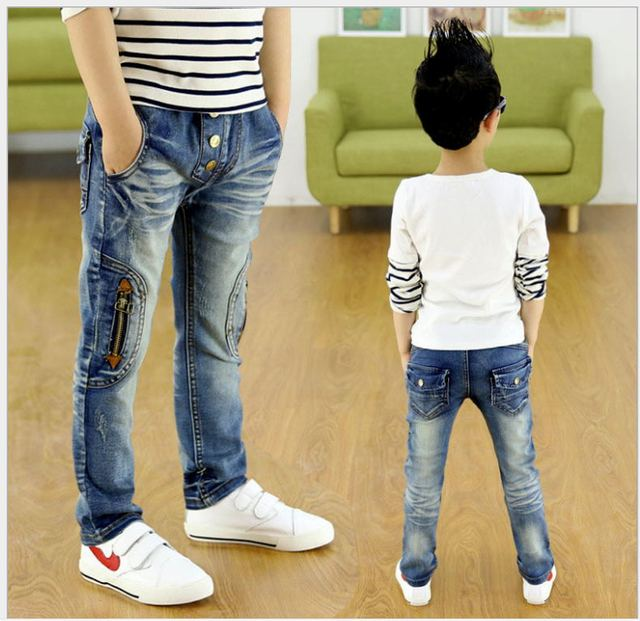 Новая коллекция весна Осень прохладный джинсы для мальчиков детей брюки Детей джинсы мальчиков джинсы эластичный пояс джинсовая 4-9Y гарсон J0181