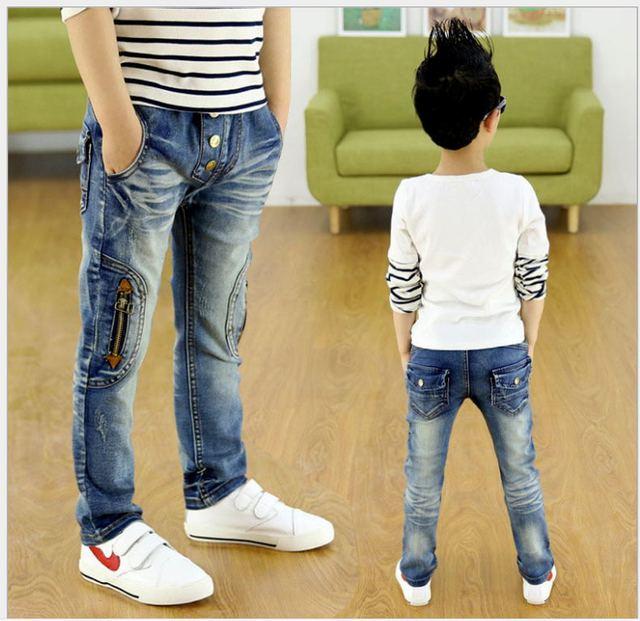 Nova primavera Outono calça jeans legal para meninos Dos Miúdos das crianças calças jeans meninos calças jeans cintura elástica jean garcon 4-9Y J0181
