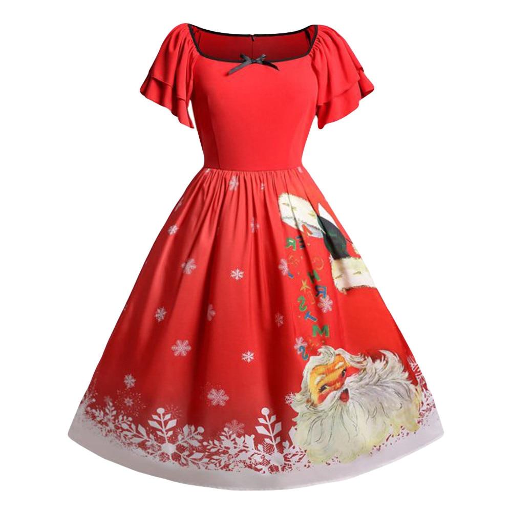 Women Christmas Plus Size Bow Santa Claus Print Vintage Dress christmas dress women women dress long sleeveless vetement femme Платье