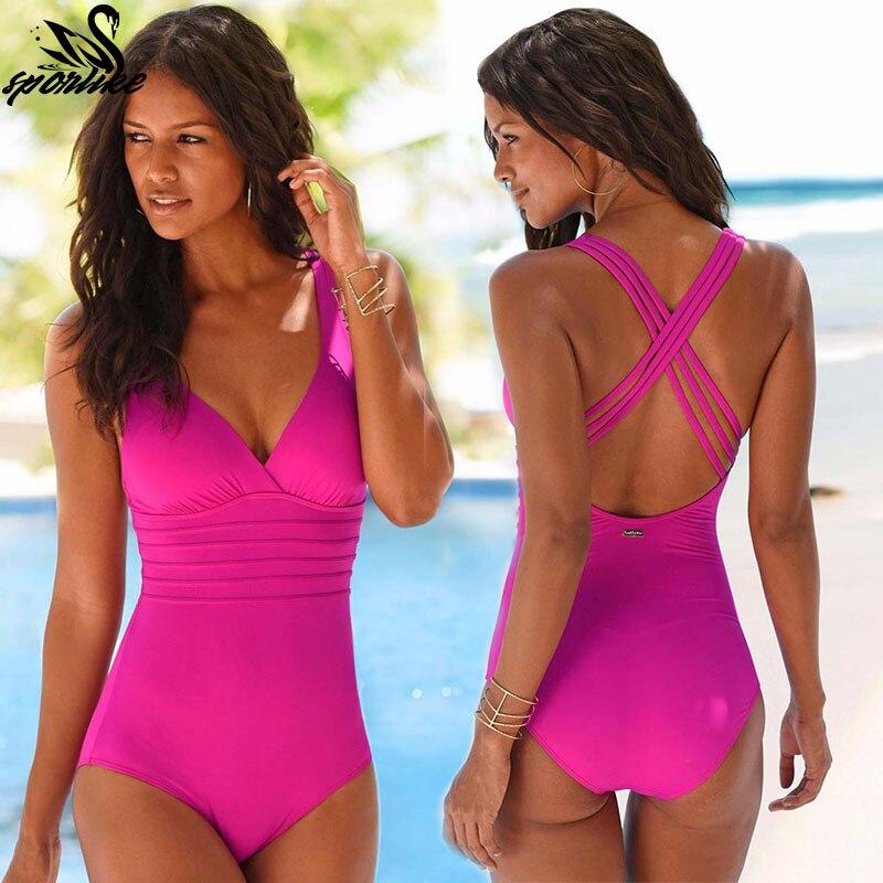 Hotkey Women One Piece Swimsuit Round Neck Funny Printed Monokini Swimwear Bodysuits Push-up Bathing Suit
