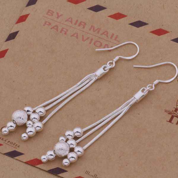 AE322 Hot Free Shipping Silver Plated Fine Jewelry,Wholesale 925-Sterling-Silver Charms Fashion Beautiful Buddha Beads Earrings