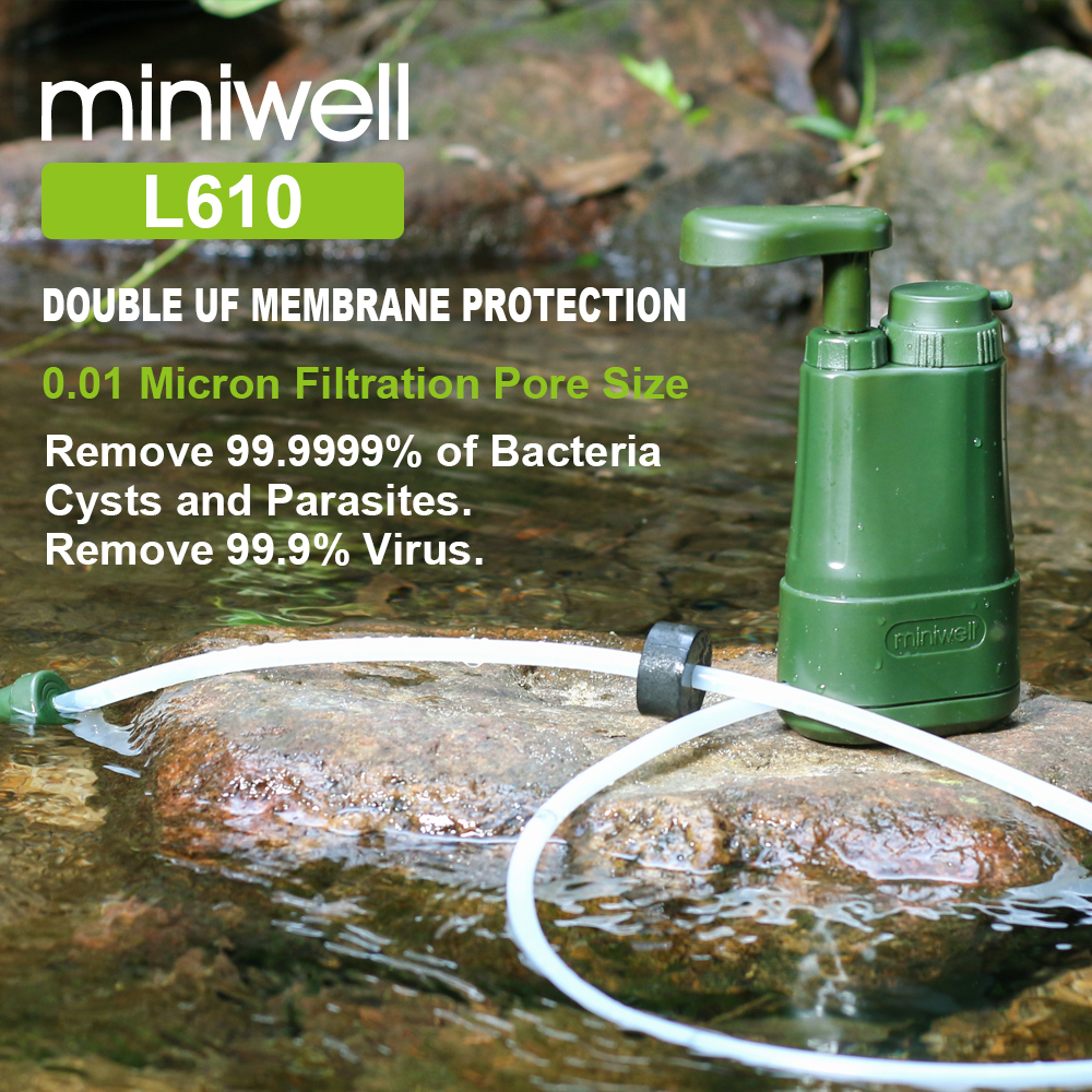 Miniwell Portable Water Filter For Camping Hiking Fishing,emergency/disaster Preparedness, Survival Water Filter System