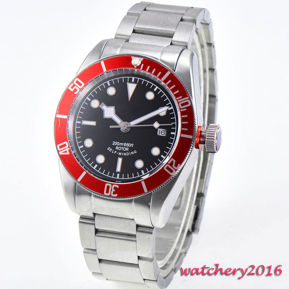 41mm Corgeut black Sterile dial Sapphire Crystal Deployment Buckle Luminous Hand Red Bezel Automatic Mechanical Mens Watch все цены