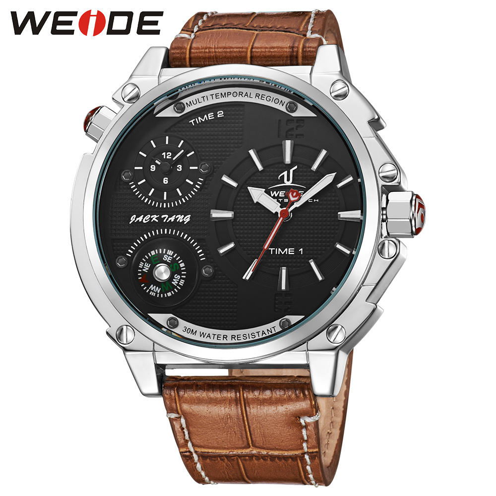 WEIDE Military Compass Watch Relogio Masculino Mens Quarzt Analog Display Genuine Leather Strap Watch Big Black Dial automatic waterproof weide brand military watch big round dial analog two time zones display leather strap men army sports waches relogio