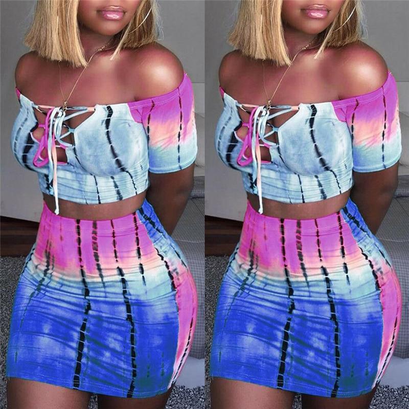Fashion Women 2 Piece Set Summer Crop Top High Waist Skirt Women Set Outfits Club Women Sets Clothes Womens Clothing Streetwear