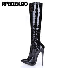 high heel knee luxury stiletto exotic dancer sexy black side zip boots  patent leather big size shoes women pointed toe wide calf 647964c38c3b