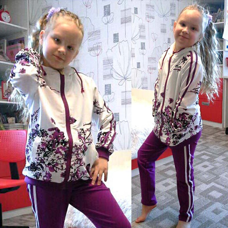 Girls Clothing Sets 2018 Spring Floral Print Hooded Jacket+Pants Sports Suit Teenager Girls Track School Sweatshirt Kids Clothes print bomber jacket with track pants page 3