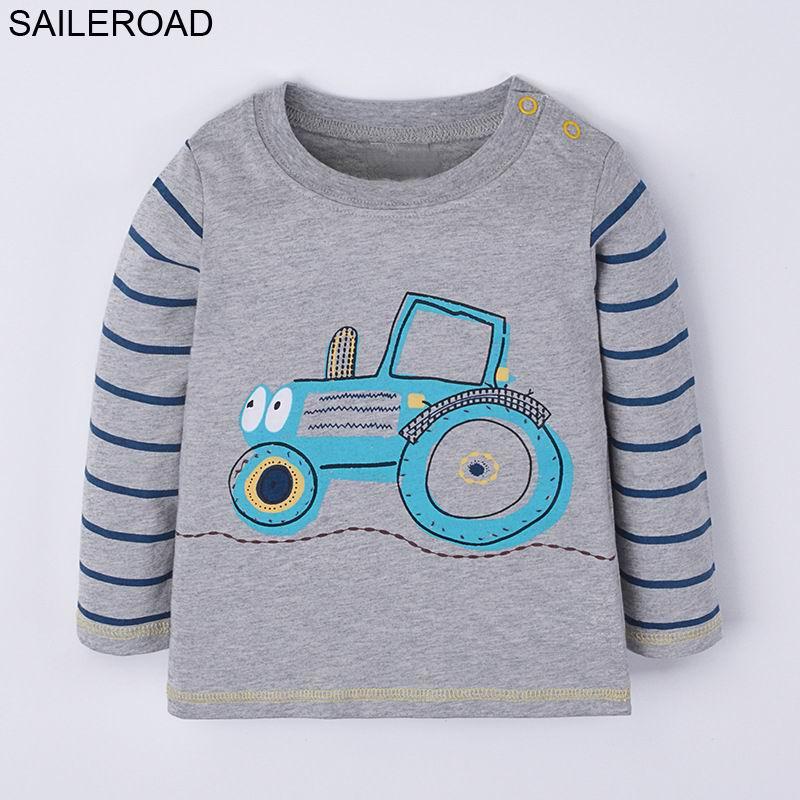 SAILEROAD Bande Dessinée Tracteurs Garçons À Manches Longues T-shirt 2018 Nouveau Automne Enfants Enfants T-shirts pour Bébés Enfant Tops T-shirts Vêtements
