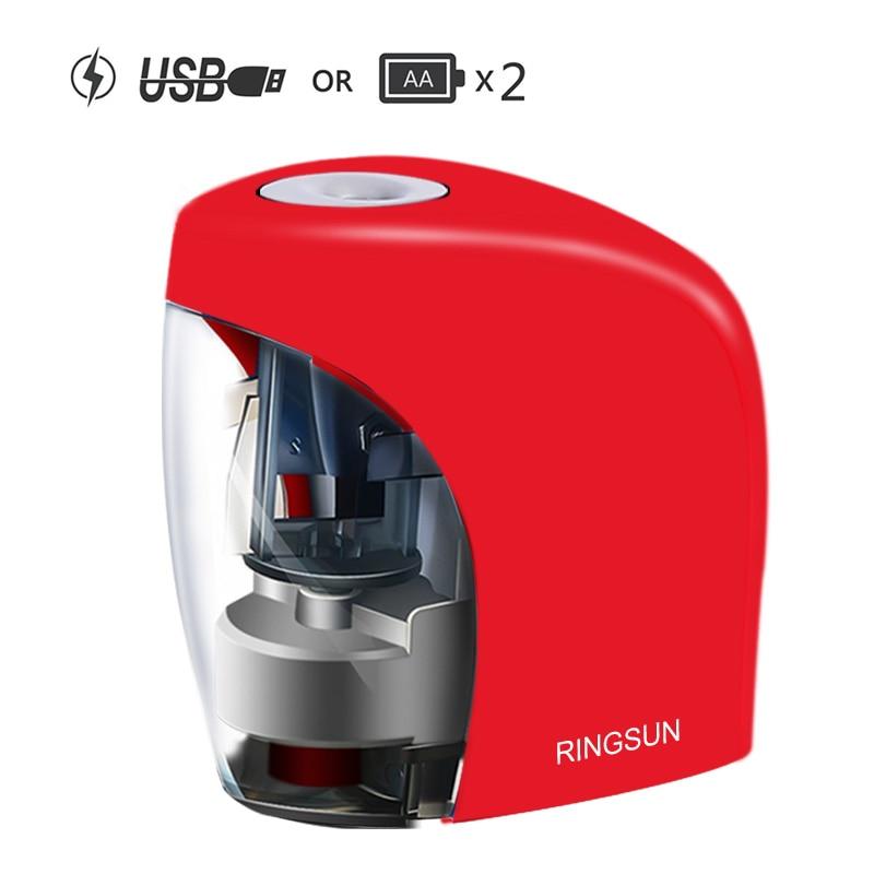 Электрический Автоматическая точилка для карандашей школы точилка канцелярские принадлежности для № 2(8 мм) карандаши и цветные карандаши батарея/USB зарядка питание - Цвет: Красный