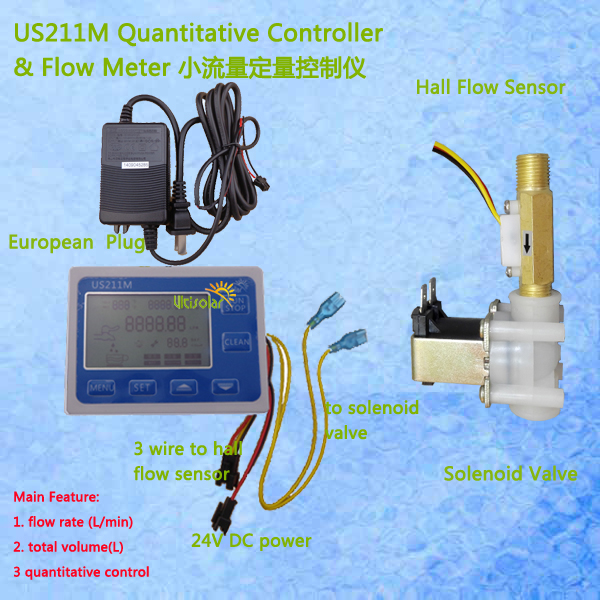 US211M Hall Water Flow Sensor Reader Flow Reader with USC-HS41TA hall effect water flow sensor power adaptor included