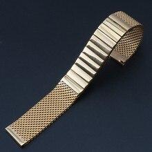 Nueva Alta Calidad de la Pulsera de oro de Plata Negro 20mm correa de Acero Inoxidable Banda Reloj de pulsera Correa de Malla Push Button Recta final