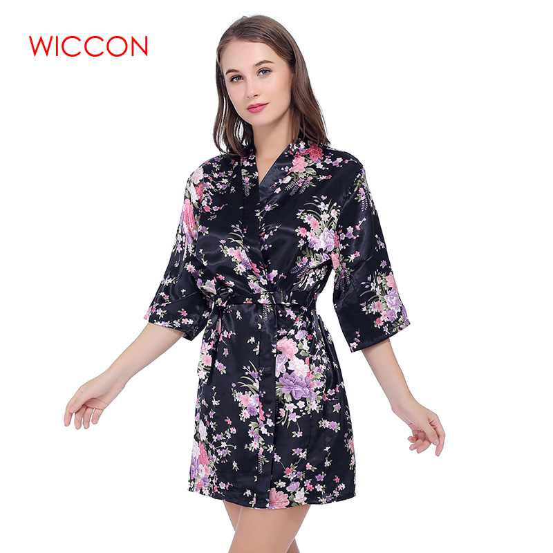 WICCON Faux Silk Floral Printed Short Bathrobe Fashion Dressing Gown For Women Wedding Bride Bridesmaid 2018New Summer Home Robe