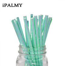ipalmay Iridescent Foil Paper Straws Pink Mint Party Cockatail Straws Wedding Baby Shower Unicorn Party Drinking Supplies 200pcs(China)
