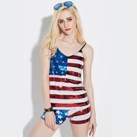 Пикантные Для женщин ночной клуб DS певица американский флаг Social Club блесток Топы корректирующие syn07