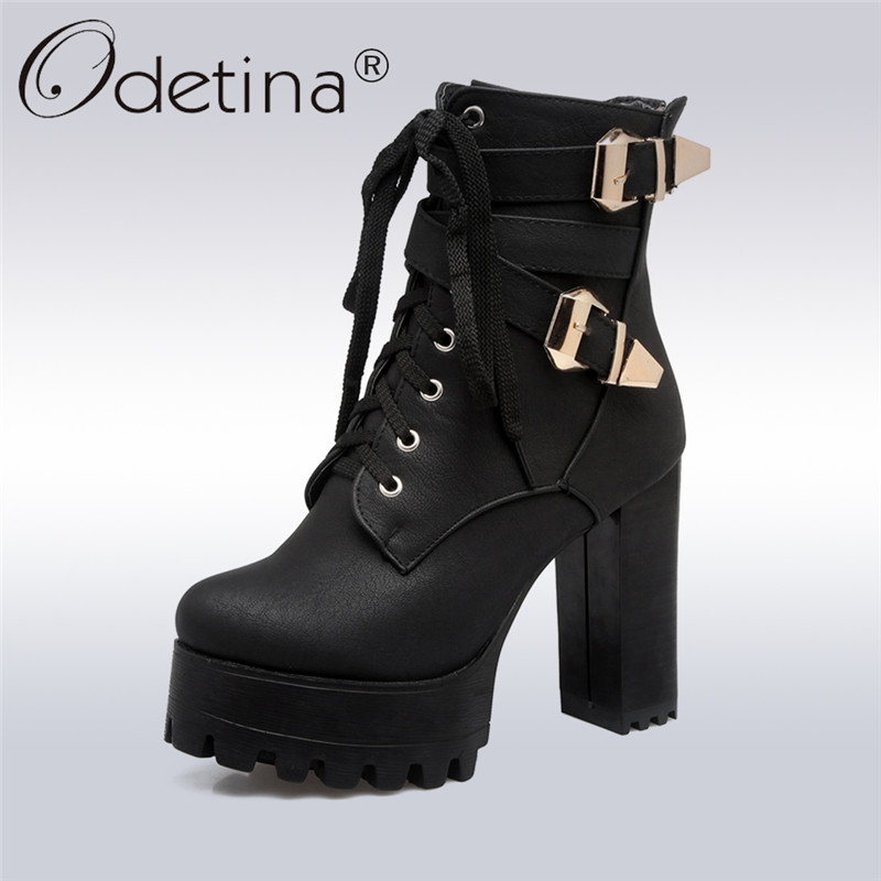 Odetina Fashion Women High Thick Heel Platform Ankle Boots Double Buckle Lady's Lace Up Booties Back Zipper Autumn Winter Shoes mcckle women s lace up rivets buckle ankle martin boots ladies fashion thick heel platform high quality leather autumn shoes