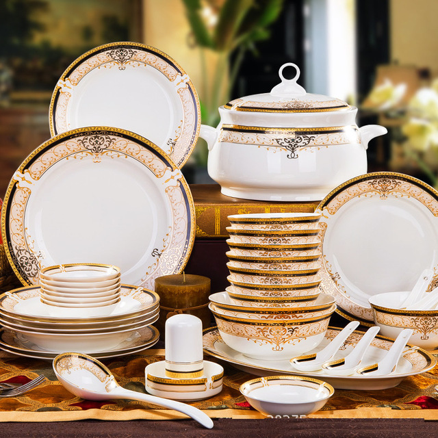 Korean Style Luxury Bone China Full Set Dinnerware Gold Edge Soup Rice Bowl Dinner Plate Restaurant & Korean Style Luxury Bone China Full Set Dinnerware Gold Edge Soup ...