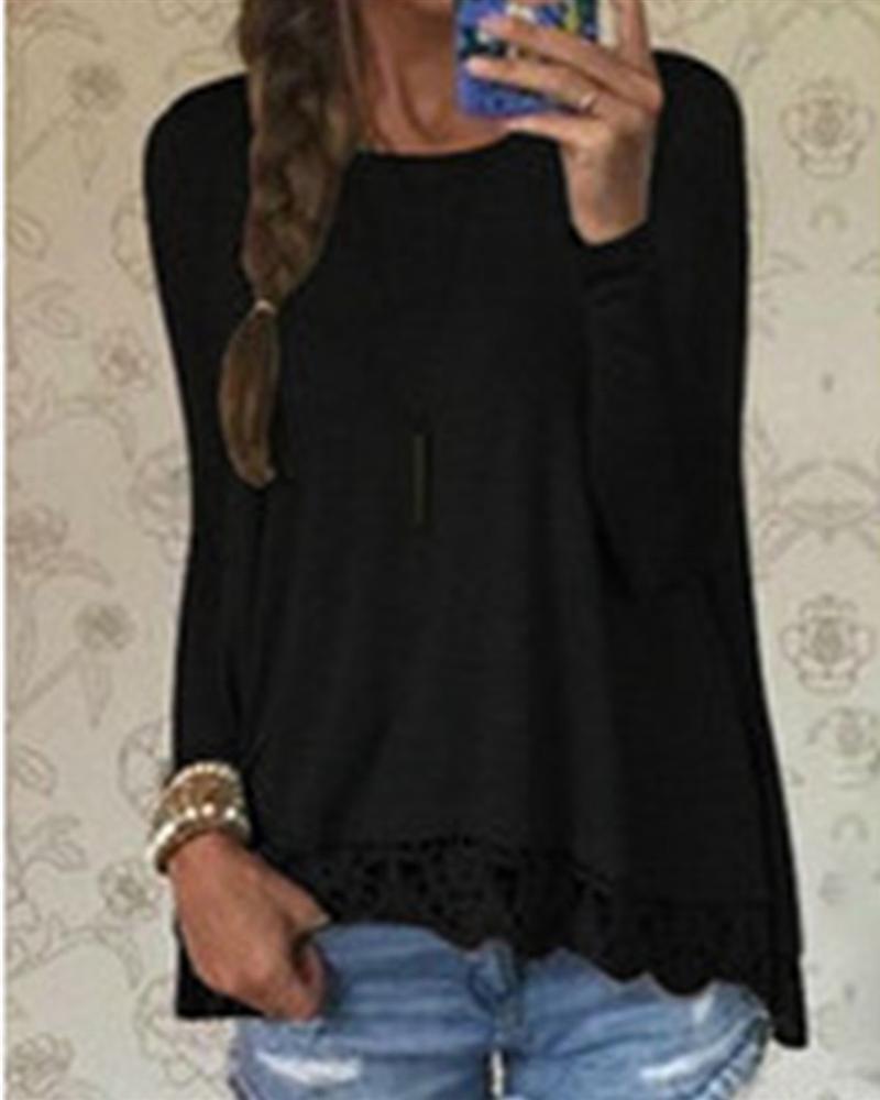 ab03264f3b9 Autumn Blouse Fashion Women Long Sleeve Casual Tops Sexy Lace Crochet  Shirts Plus Size Female