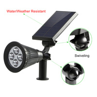2 Pcs Solar Spotlights 4 LED Landscape Solar Lights Outdoor Waterproof Garden Lawn Lamp SDF SHIP