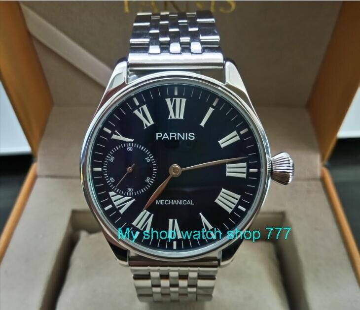 44mm PARNIS Blue dial Asian ST3600/6497 Mechanical Hand Wind movement Mechanical watches Luminous mens watches sdgd026A