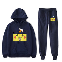 Pokemon Pikachu Navy blue Hoodies+Sweatpants Men/women Fashion Hip Hop Cartoon Harajuku Plus Size Casual Pokemon Hoodies suits