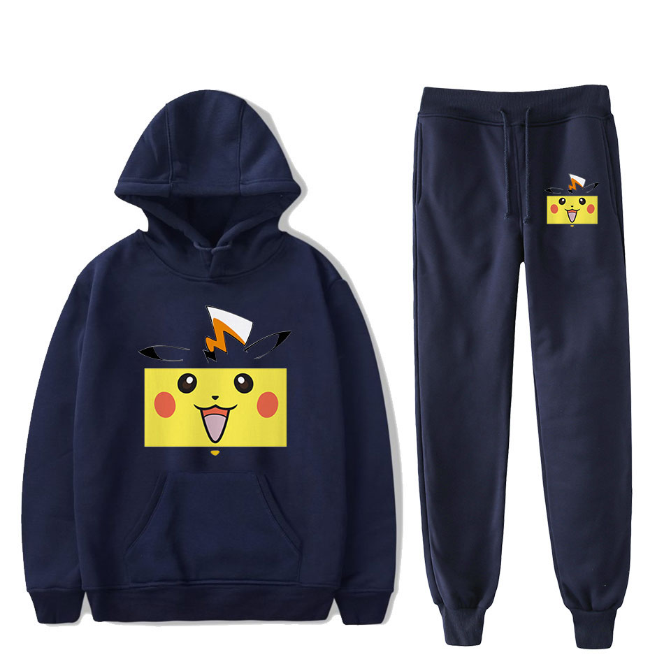 Pokemon Pikachu Navy Blue Hoodies+Sweatpants Men/women Fashion Hip Hop Cartoon Harajuku Plus Size Casual Pokemon Hoodies Suits