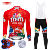 2019 Winter Cycling Jersey Set MTB Cartoon Bike Clothing Mens Ropa Ciclismo Thermal Fleece Bicycle Clothes Long Cycling Wear