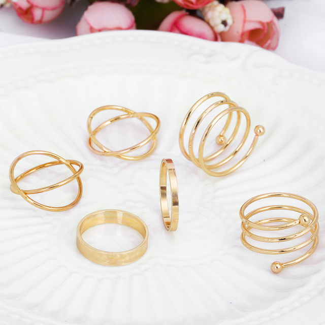 Hot Unique Ring Set Punk Gold Color Knuckle Rings for women Finger Ring 6 PCS Ring Set Best Selling 2017