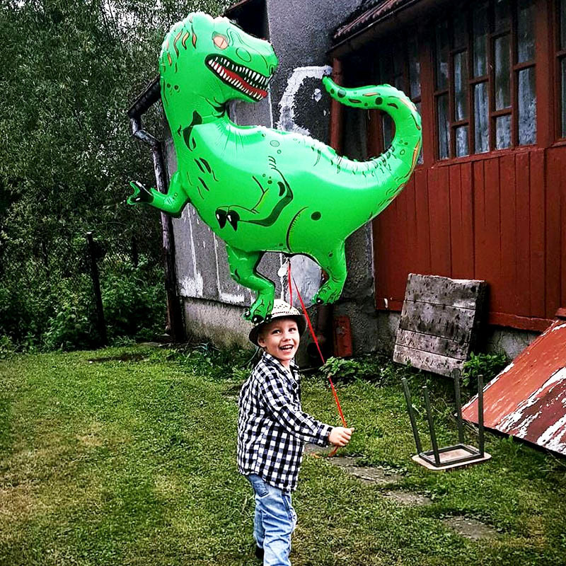 Big Dinosaur Balloons Aluminum Foil Toys Party Hat Tyrannosaurus Green Balloons Relax Toys Birthday Party Floating Toys For Kids