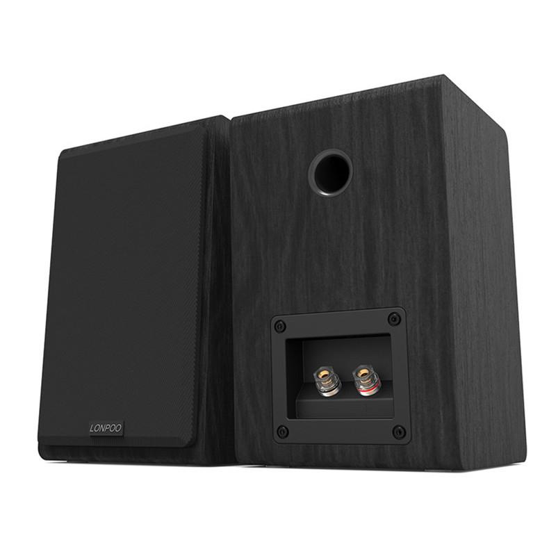 LONPOO Bookshelf Speaker Passive Pair 2-Way 75W *2 Classic Wooden Loudspeaker with 4-inch Carbon Fiber Woofer Tweeter Speaker 11