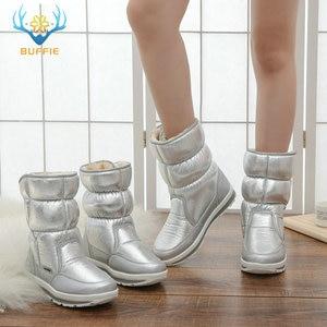 Image 5 - Buffie מותג חורף מגפי כסף נשים שלג מגפי פרווה מדרסים ליידי חם נעלי ילדה אופנה אמצע culf משלוח חינם נחמד למראה