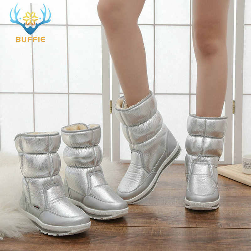 Gümüş kışlık botlar Buffie marka kaliteli kadın kar botları sahte kürk astarı bayan sıcak ayakkabı kız moda ücretsiz kargo güzel lookin