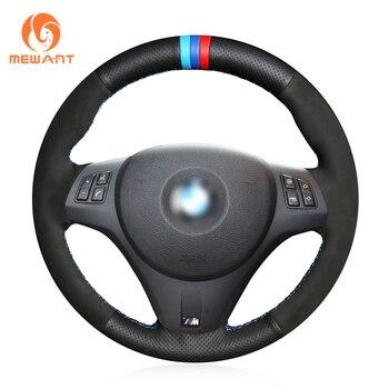MEWANT Black Genuine Leather Suede Hand Sew Wrap Car Steering Wheel Cover for BMW M Sport M3 E90 E91 E92 E93 E87 E81 E82 E88