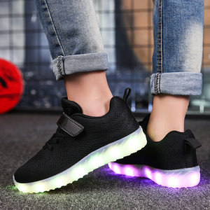 Image 3 - Size 25 37 Children Glowing Sneakers Kid for Boys Girls Shoes with Light up luminous sole canvas shoes luminous led slippers