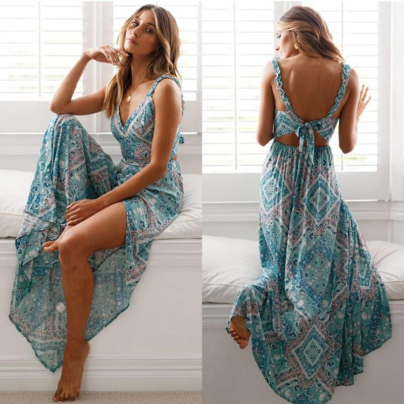 2019 женское длинное летнее платье, сексуальное платье Бохо С Высоким Разрезом, вечернее пляжное платье, Цветочное платье с v-образным вырезом