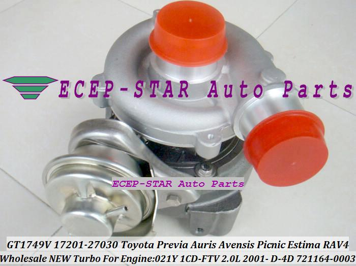 GT1749V 721164 0003 721164 17201 27030 Turbo Turbocharger For TOYOTA RAV4 Previa Auris Avensis Picnic Estima 021Y 1CD FTV 2.0L|turbocharger work|turbocharger bmw|turbocharger manufacturer - title=