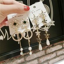 Korea Handmade Vintage Baroque Crystal Rhinestone Women Drop Earrings Dangle Fashion Jewelry Accessories-QQD5