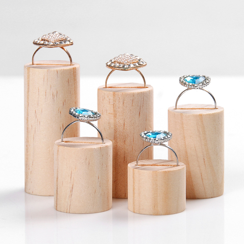 5pcs/set Cylinder Wood Ring Display Stand Holder Showcase Ring Holder Jewelry Organizer Jewelry Display For Window Display