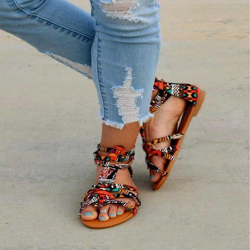 SHUJIN czeski kobiety płaskie buty Torridity sandały gladiatorki Boho Sandalias Mujer kolorowe kobiece plaża płaskie Plus rozmiar 35-43