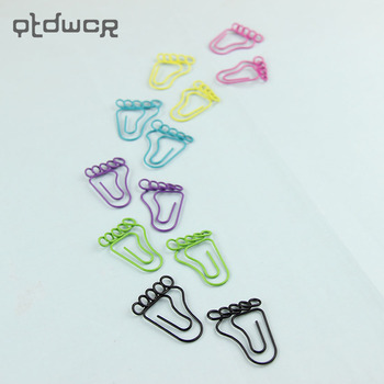 12PCS/Pack Lovely Feet Shape Metal Bookmarks Paper Clip Office Supplies Stationery