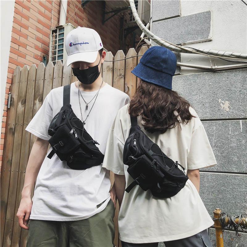 Waist Bag For Men Black Belt Bags Fanny Pack Multifunction Hip Package Chest Packs Canvas Material Bum Bag Crossbody Pack