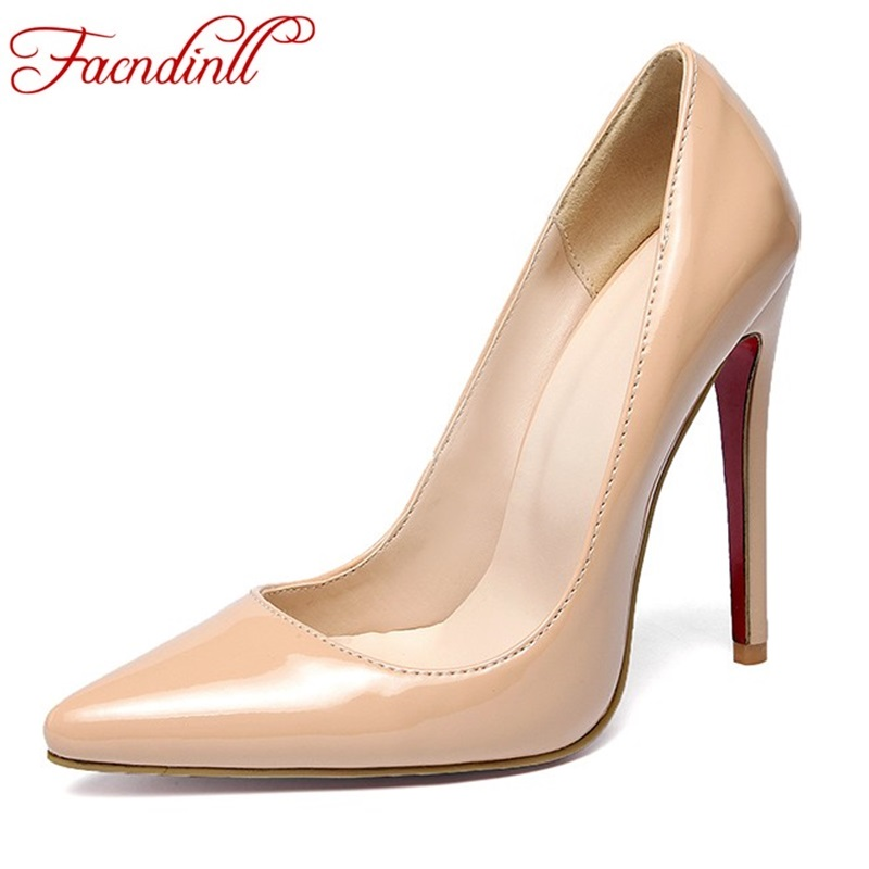 FACNDINLL patent leather shoes women pumps sexy super high heels pointed toe nude shoes woman black red party office lady shoes asumer 2017 new high quality flock women pumps pointed toe high heels 8cm office lady dress shoes woman black wine red
