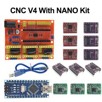 Tarcza cnc V4 karta rozszerzenia + NANO 3 0 z usb dla Arduino + 3 sztuk sterownik silnika krokowego A4988 DRV8825 AT2100 zestaw do drukarki 3D tanie i dobre opinie Roarkit Silnik krokowy Motor Drive