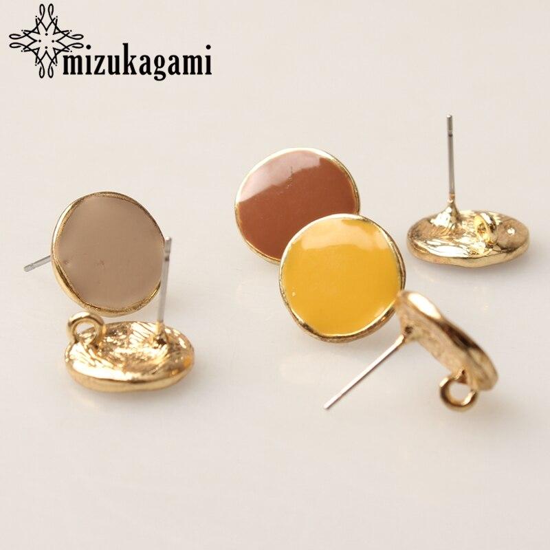 Zinc Alloy Golden Enamel Round Earrings Base Earrings Connector 6pcs/lot 14MM For DIY Earrings Accessories